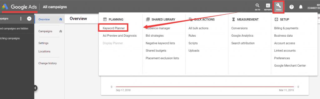 Keywords Planner 位于 Adwords工具右上角的Tools按钮中